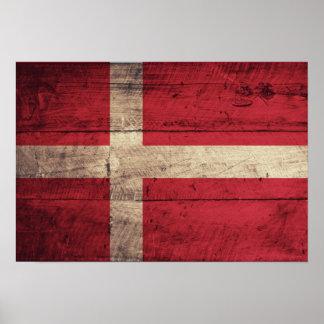 Bandeira de madeira velha de Dinamarca Poster