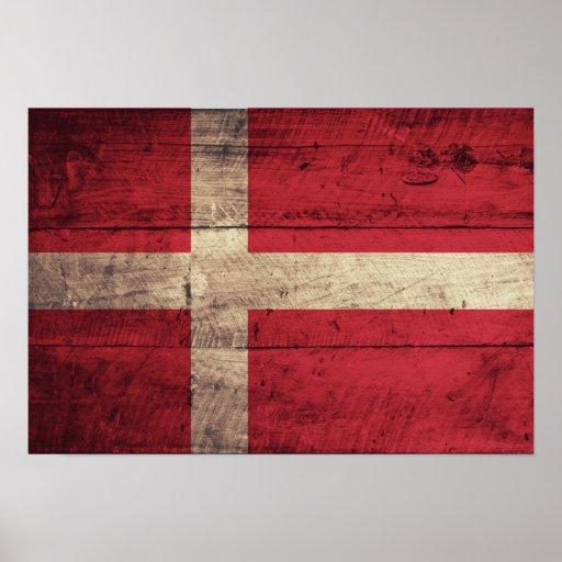 Bandeira de madeira velha de Dinamarca Impressão