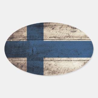 Bandeira de madeira velha de Finlandia Adesivo Oval