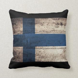 Bandeira de madeira velha de Finlandia Travesseiros