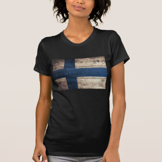 Bandeira de madeira velha de Finlandia; T-shirts