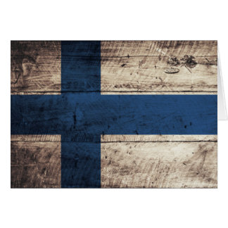 Bandeira de madeira velha de Finlandia Cartão De Nota