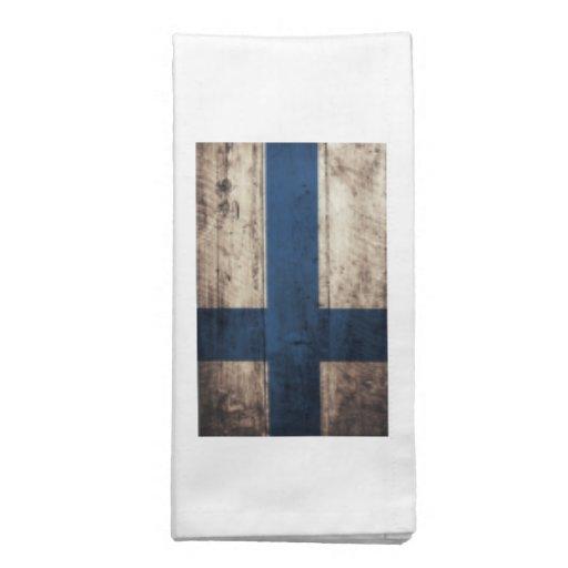 Bandeira de madeira velha de Finlandia Guardanapo
