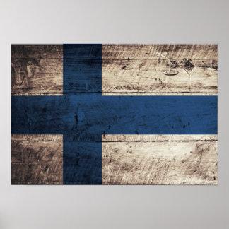 Bandeira de madeira velha de Finlandia Pôsteres