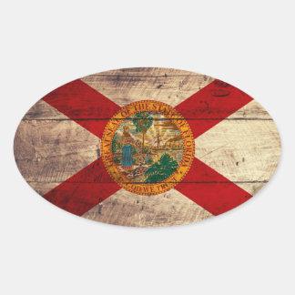 Bandeira de madeira velha de Florida; Adesivo Oval