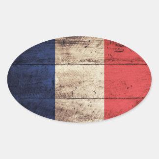 Bandeira de madeira velha de France Adesivo Oval