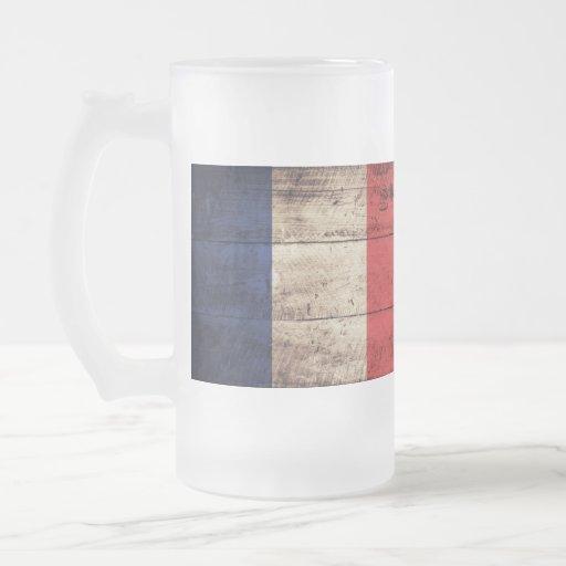 Bandeira de madeira velha de France; Caneca