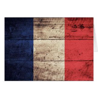 Bandeira de madeira velha de France Cartão De Nota