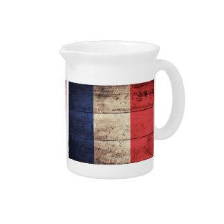 Bandeira de madeira velha de France; Jarros De Bebidas