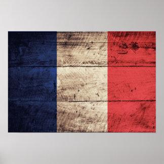 Bandeira de madeira velha de France Posteres