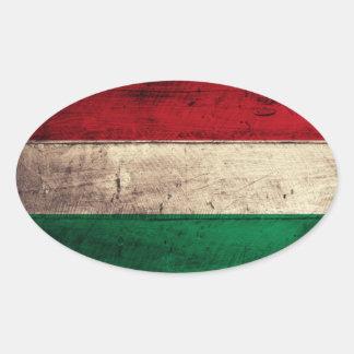 Bandeira de madeira velha de Hungria Adesivo Oval