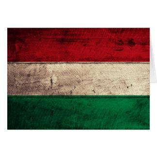 Bandeira de madeira velha de Hungria Cartão De Nota