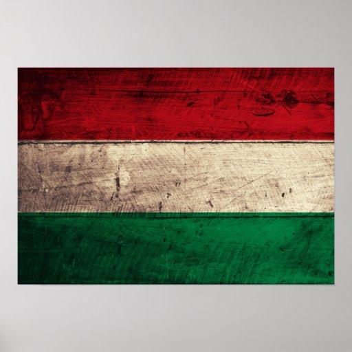 Bandeira de madeira velha de Hungria Pôsteres