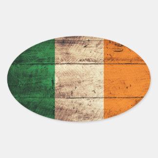 Bandeira de madeira velha de Ireland Adesivo Oval