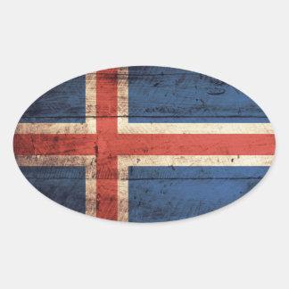Bandeira de madeira velha de Islândia Adesivo Oval