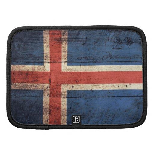 Bandeira de madeira velha de Islândia Organizador