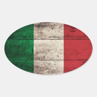 Bandeira de madeira velha de Italia Adesivos Em Formato Oval