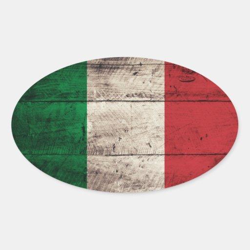 Bandeira de madeira velha de Italia Adesivos Em Formato Ovais