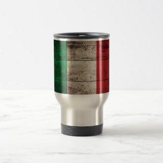 Bandeira de madeira velha de Italia Canecas