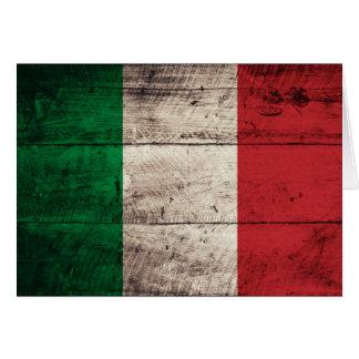 Bandeira de madeira velha de Italia Cartão De Nota