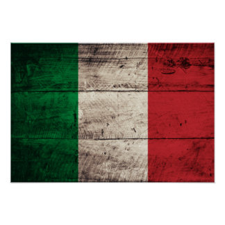 Bandeira de madeira velha de Italia Poster