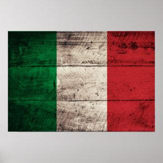 Bandeira de madeira velha de Italia Posteres