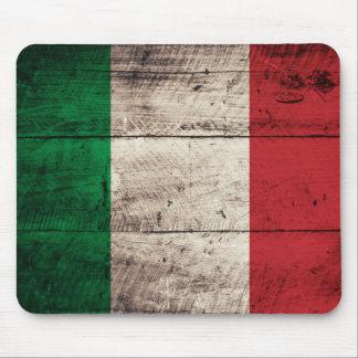 Bandeira de madeira velha de Italia Mousepads