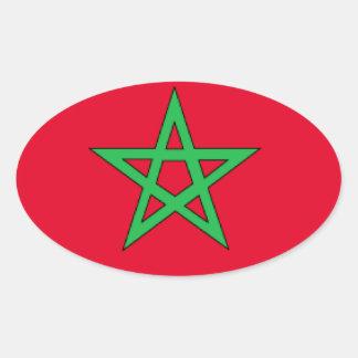 Bandeira de Marrocos Adesivo Oval