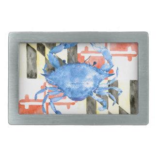 Bandeira de maryland da aguarela e caranguejo azul