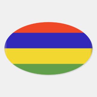 Bandeira de Maurícia Adesivo Oval