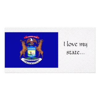 Bandeira de Michigan Cartoes Com Foto Personalizados