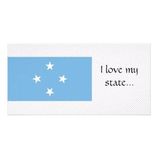 Bandeira de Micronesia Cartao Com Foto Personalizado