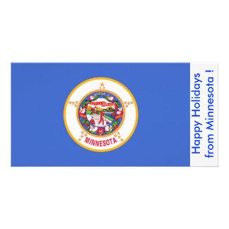 Bandeira de Minnesota, boas festas dos EUA Cartão Com Foto