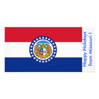 Bandeira de Missouri boas festas dos EUA Cartao Com Foto Personalizado