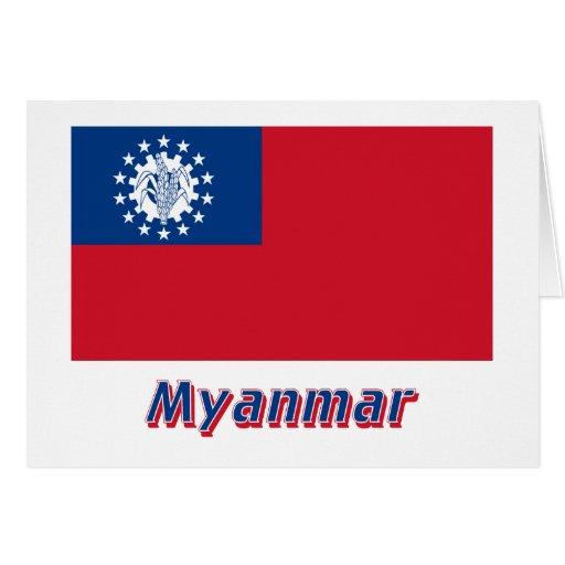 Bandeira de Myanmar com nome 1974-2010 Cartoes