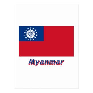 Bandeira de Myanmar com nome 1974-2010 Cartões Postais
