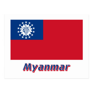 Bandeira de Myanmar com nome 1974-2010 Cartao Postal