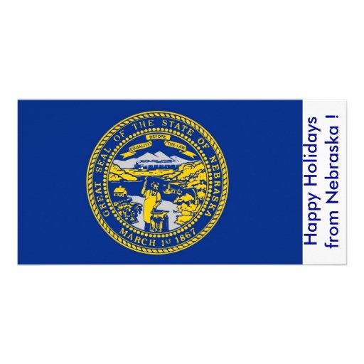 Bandeira de Nebraska, boas festas dos EUA Cartao Com Fotos