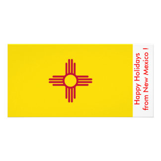Bandeira de New mexico boas festas dos EUA Cartao Com Foto Personalizado