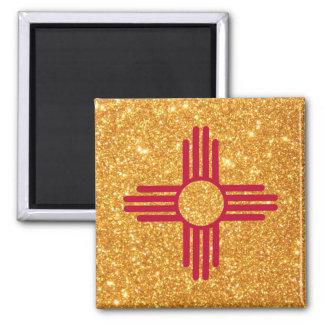 Bandeira de New mexico do brilho do ouro Ímã Quadrado