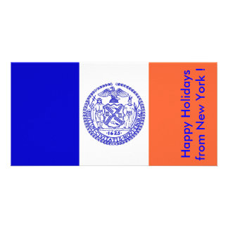 Bandeira de New York boas festas dos EUA Cartoes Com Foto Personalizados