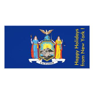 Bandeira de New York boas festas dos EUA Cartoes Com Foto