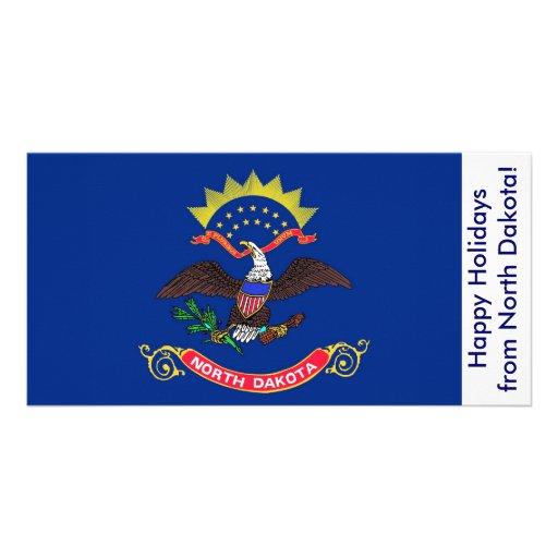 Bandeira de North Dakota, boas festas dos EUA Cartoes Com Fotos Personalizados