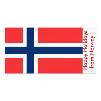 Bandeira de Noruega, boas festas de Noruega Cartão Com Foto