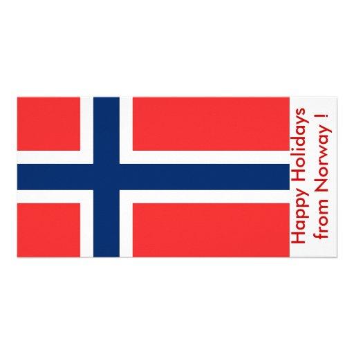 Bandeira de Noruega, boas festas de Noruega Cartão Com Fotos
