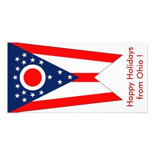 Bandeira de Ohio, boas festas dos EUA Cartoes Com Foto
