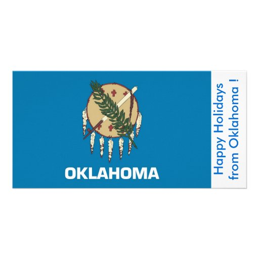 Bandeira de Oklahoma, boas festas dos EUA Cartão Com Fotos