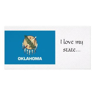Bandeira de Oklahoma Cartao Com Fotos Personalizado