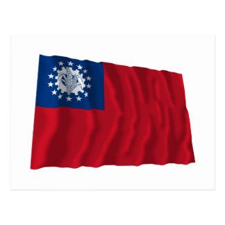 Bandeira de ondulação 1974-2010 de Myanmar Cartoes Postais