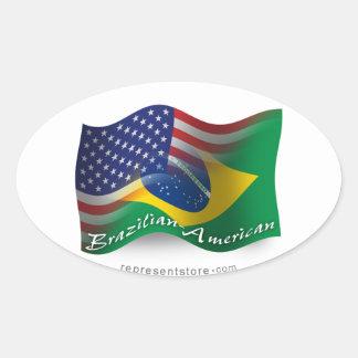 Bandeira de ondulação Brasileiro-Americana Adesivo Oval